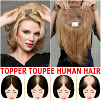 Clip In Indian Human Hair Hairpiece Women Topper Top Pieces Toupee Weaves Thick!