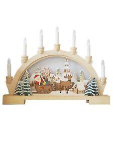 Wooden Candle Bridge Christmas Decoration (45cm Wide)