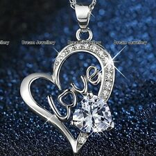 for Her Girlfriend Mum Wife 3C Silver Love Heart Necklace Pendant Christmas Gift
