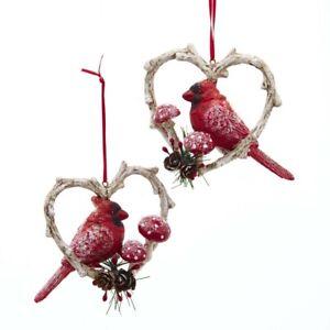 Cardinal Birds in Heart Frame Ornament