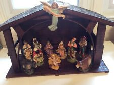 Vintage Mixed 13 Piece Nativity including Manger