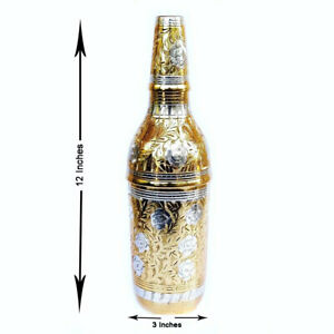 Pure Brass Metal Royal Wine/Beer Bottle Hand Carving Home Décor Vintage Look 12""