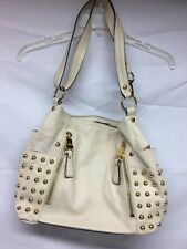 Makowsky Large Beige Leather Sachel Handbag With Bling