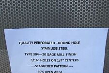 """20 GA. 304 STAINLESS STEEL PERFORATED SHEET 3/16 HOLES 12"""" X 24"""""""