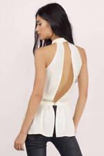 TOBI Ivory Off White V Neck Lace Detail KeyHole Blouse Top L Large NEW RARE!