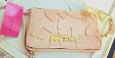 Betsey Johnson Clutch Crossbody Bag & Wallet Pink with Bows Fits I Phone 6