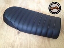 BLACK LEATHER LOOK CAFE RACER SEAT BRAT STYLE +MULTI FIT BRACKETS *  PROJECT KIT