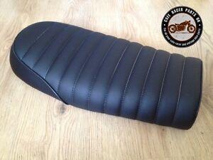 BLACK LEATHER LOOK CAFE RACER SEAT BRAT STYLE +MULTI FIT BRACKETS *  PROJECT KIT