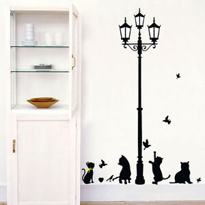 Large Black Cats Street Lamp Home Decor Wall Stickers for Bedroom Sittingroom