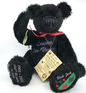 Hermann Black Jack Teddy Bear Mohair Plush LE250 16in 2005 Lucky Vegas 100th