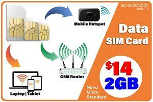 SpeedTalk Hotspot WiFi MiFi Internet 5G 4G LTE Data SIM Card 2GB (US) | Roaming