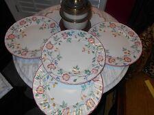 Set 4 Churchill Staffordshire England Pink  Briar Rose Tea Dinner Plates NOS