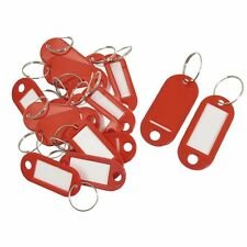 20 Pcs Key ID Label Tags Split Ring Keyring Keychain Red DT
