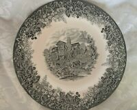 WEDGWOOD Queen's Ware MORETON OLD HALL Cheshire Black & White Plate - England