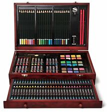 ART SET 142 PIECE ARTIST KIT PENCILS PASTELS WATERCOLOR DRAWING WOOD CASE *NEW*
