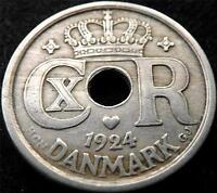 1924 DENMARK 25 ORE COIN