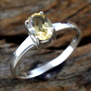 Yellow Citrine Gemstone 925 sterling Silver Jewelry Handmade Ring Size US 7