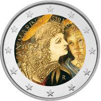 2 Euro Gedenkmünze San Marino 2019 coloriert / mit Farbe - Farbmünze Da Vinci