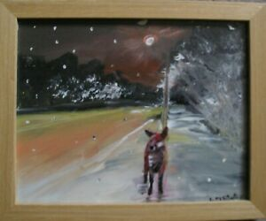 Urban Fox Original Painting by Linda Slater Framed with glass