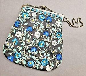Accessorize by Monsoon blue glass beaded floral handbag evening bag
