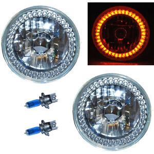 "7"" Halogen Amber Turn Signal LED Halo Angel Eyes Headlight Headlamp Light Bulbs"