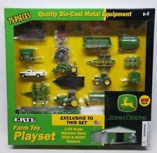 1/64 John Deere Farm Toy Playset Machine Shed 8520T 6420 Tractor Dodge Ram Truck