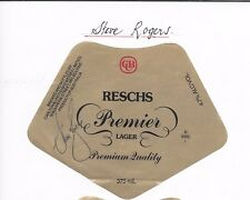 STEVE ROGERS ~ NSW RUGBY LEAGUE GREAT ~ HAND SIGNED BEER LABEL ~RESCHS PREMIER