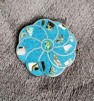Vintage Alpaca mexico Silver Abalone mop blue flower swirl Brooch pin