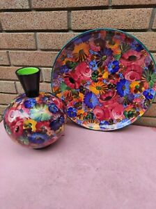 Galvani ceramica vintage vaso centrotavola e piatto