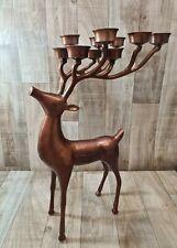 """Disc Pottery Barn Reindeer Deer 10 Candle Candelabra 20""""H 13""""L"""