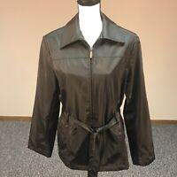 Giacca A Gallery Company Women's Size M Rain Coat Jacket Black Zip Tie Belt