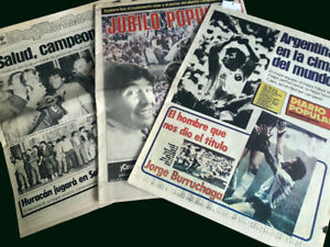 ARGENTINA CHAMPION 1986 SOCCER WORLD CUP MEXICO - newspaper + Poster Argentina