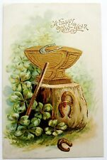 NEW YEAR Gold Anvil Good Luck HORSESHOES & CLOVER Postcard EMB