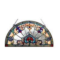 "Victorian Design Stained Glass Hanging Window Panel Home Decor Suncatcher 24""W"