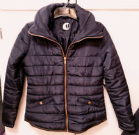 Leather Trim Navy/Black Short Quilted Puffer Jacket Coat Womens Sz S Small $99