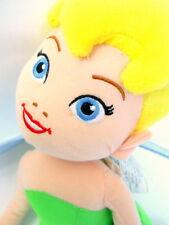 Disney Fairies Tinkerbell Plush Doll Green Clothes Yellow Hair Blue Wings Kneel