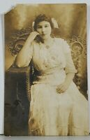 RPPC Young Lady Pretty Dress Bow Necklace Hagerstown Md Family Est Postcard K2
