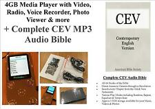 4 GB Media Player, Video, Foto, Radio + COMPLETO CEV MP3 AUDIO Bibbia-Gratis P&P!!