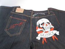 Ed Hardy Men's Jeans Embroidered Death Glory Skull Size 40X34
