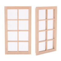 2x 1/12 Scale Dollhouse Miniature Unpainted Window Frame for Bedroom Living Room