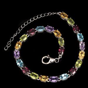 Bracelet Citrine Peridot Topaz Amethyst Genuine Gems Sterling Silver 7 to 9 Inch