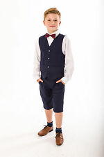 Boys Suits, 4 Piece Short Set Suit, Grey Navy Suit Wedding Page boy Baby Boys