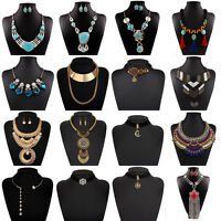 Fashion Womens Statement Chunky Collar Pendant Choker Bib Necklace Chain Jewelry