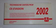 Datenbuch Technische Daten / Informationen Citroen C5 / Evasion St. 2002