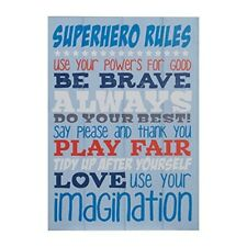 Premier Housewares Kid's Super Hero Rules Wall Plaque - Blue - Kids