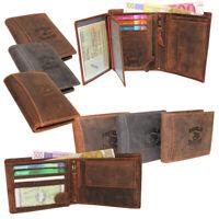 Vintage Leder Herren Geldbörse Portemonnaie Geldbeutel RFID-Schutz Hunter