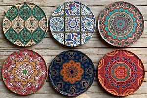 Drink Coasters Set Of 6 Turkish Persian Design Round Coaster Tea Coffee Cup Mat