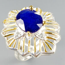 Fashion Women ring Natural Blue Sapphire 925 Sterling Silver Ring Size 9/R118856