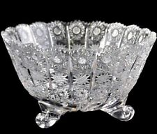 """Crystal Glass Bowls 7 """" Hand Cut for Sweets Nuts Fruits Candy Bohemian  Crystal"""