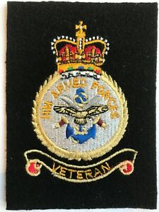 ARMED FORCES VETERAN EMBROIDERED BLAZER BADGE - SIZE 80 x 100mm - NEW